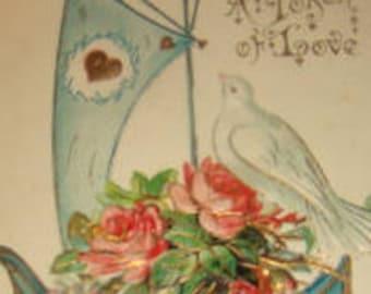 Vintage Postcard (Boat and Dove)