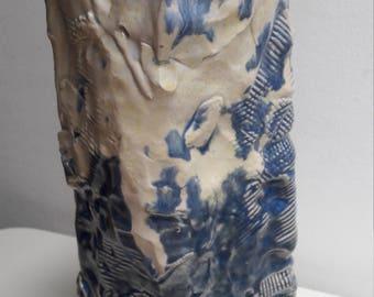 Hand Built Ceramic Blue White Cream Vase