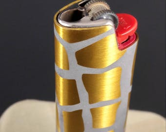BIC Lighter Cover Etched Metal Giraffe Print Design (many color choices)