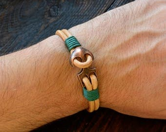 Аnchor Bracelet Mens Leather Bracele Brawn Mens Bracelet Gift For Him Leather Jewelry