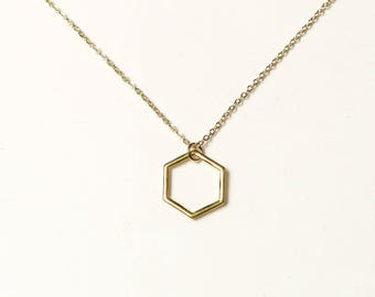 Gold Hexagon Necklace, Geometric Necklace Gold, Gold Honeycomb Necklace, Hexagon Necklace Men, Gold Pendant Necklace Dainty