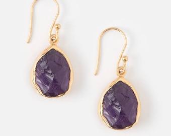 Amethyst earrings - Raw Amethyst earrings - Rough Amethyst earrings - Gemstone earrings - February Birthstone - Raw Amethyst