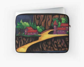 Cover macbook air pro retina - red yellow green colorful fantasy landscape art print - detail checks houses landscape painting