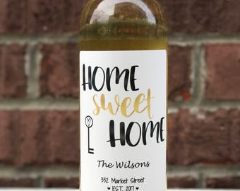 New Home Wine Label - Custom Housewarming Gift - Personalized Wine Label - Wine Sticker – Home Sweet Home
