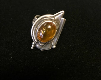Amber/Sterling Silver Ladies Ring