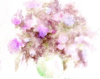 flowers still life watercolor, purple flowers in vase, bouquet of flowers, printable art original watercolor handmade painting wall art