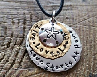Double Stack Handstamped Stainless Steel and Brass Necklace with Sand Dollar Charm