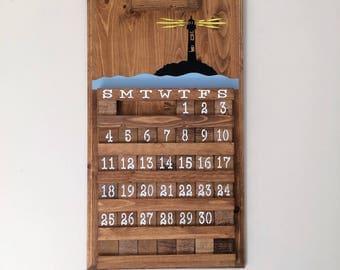 Lighthouse calendar, wooden calendar, wooden perpetual calendar, wedding gift, housewarming gift