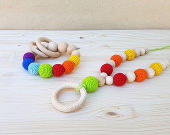 Teething necklace and Rattle Rainbow SET Teething toy Teething beads Nursing necklace Crochet Baby rattle wooden beads Organic Natural toy
