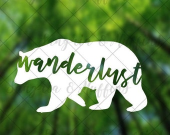 Wanderlust Bear decal - car decal - window decal - laptop decal - tablet decal - travel, hiking, outdoors decal