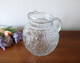 Vintage glass pitcher Anchor Hocking Lido Milano crinkle glass pitcher Clear ball pitcher Ball jug Crinkled texture glass Vintage glassware