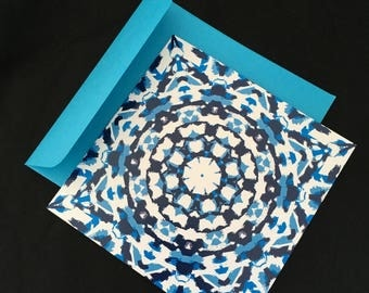 Blue and white patterned square greeting card