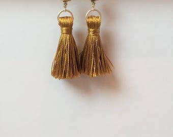 Gold Tassel Silver Earrings
