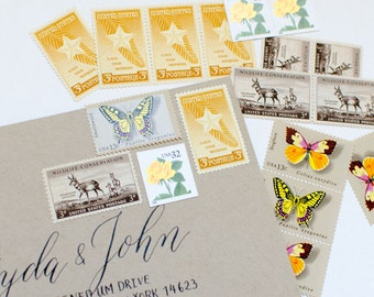 The Butterfly -- Yellow Unused Vintage Stamps -- Postage Set of 5