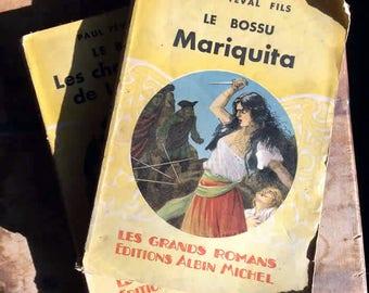 """Set of 2 vintage French novels by Paul Féval Fils from """"Le Bossu"""" series : Mariquita & Les Chevauchées de Lagardère 1949"""