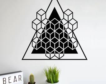SACRED GEOMETRY Platonic solids Hexahedron Triangle Wall Decal Cube alchemy geometric  Line Mandala