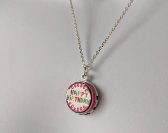 Happy Birthday Pendant Necklace on a silver cable chain
