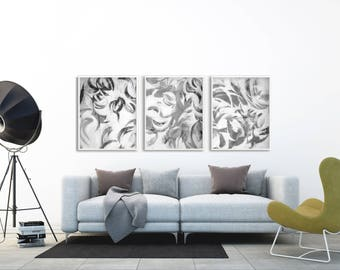 Black and White Painting Printable, Black and White Abstract Printable, Large Abstract Black and White Printable, Printable Painting Set