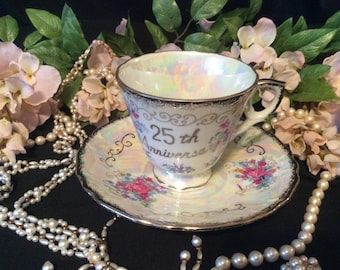 Norleans Japan, Pearlescent, 25th Anniversary, TeaCup and Saucer