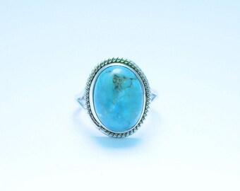 TURQUOISE STONE RING, Turquoise Ring, Turquoise Silver Ring, 92.5 sterling Silver Ring, Handmade Ring, Gypsy Ring ,  16
