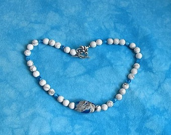 Matte White Howlite Gemstone Necklace with Czech Glass Beads and Handmade Lampwork Focal Bead 18""