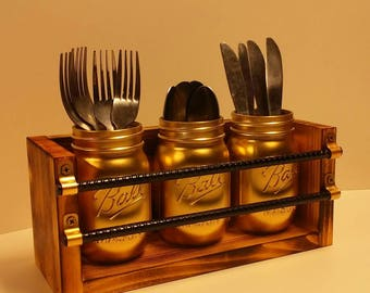 Mason jar utensil holder