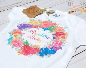Rainbow Baby Onesie®, Boho Wreath Rainbow Baby Shower Gift, Miracle Baby Bodysuit, Pregnancy Announcement Cute Baby Clothes Take Home Outfit