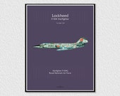 Downloadable poster for decoration, instant descargar, wall decor printable, airplane poster, digital drawing F-104 Starfighter