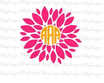 Monogram flower svg,