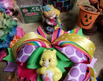 Triple stacked care bear boutique style hairbow