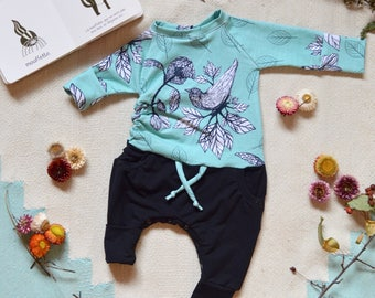 Grow with me Romper Unisex baby kid clothing Coco Dandelion Birds foliage aqua blue automn handmade in canada