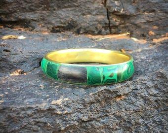 Vintage 1970's Inlaid Malachite Brass Bangle | Boho Malachite Stacking Bracelet | Earthy Stone Bangle Bracelet