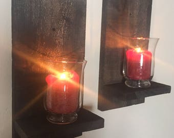 Barn Board Wall Sconces with Hurricane Candle Holders