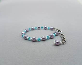 Purple Pearl and Light Blue Swarovski Crystal Baby Bracelet