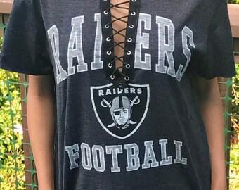 Oakland Raiders Lace Up Shirt, Lace Up Tee, Raiders Shirt