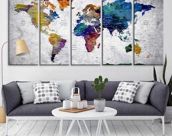 Push Pin Travel Map of World, Vintage Map, Push Pin Map, Push Pin World Map, World Map Canvas Wall art, Large Wall Art