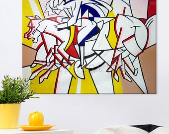 A Lichtenstein Pop Art Andy Warhol acrylic painting on canvas Hand painted Wall Art Picture for living Room home decor