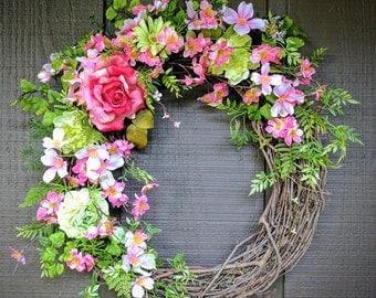 Summer Wreath, Spring Wreath, Front Door Wreath, Pink Wreath, Housewarming Gift, Dogwood Wreath