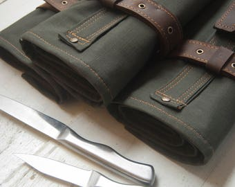 Canvas-Leather Knives | Chefs roll by Rojazul | Gifts for chef's | FREE PERSONALIZATION