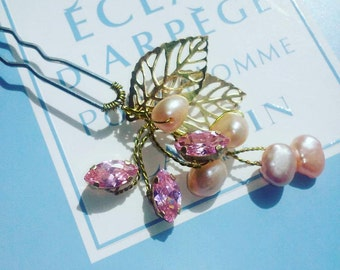 Hair clip with cubic Zirconia and pearls