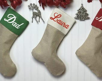 PERSONALIZED Christmas stocking, custom stocking, Christmas stocking, burlap stocking, family stockings, Christmas decor, holiday decor,