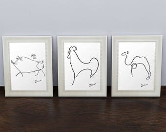 Set of 3 Prints: Picasso Animal Sketches. Picasso Prints. Picasso Poster. Line Drawing Art. Picasso Wall Art. Picasso Decor. Picasso Drawing