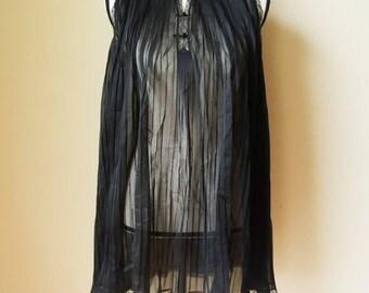 Vintage Black Sheer Pleated Negligee Nightie