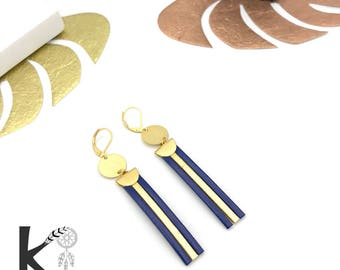Earrings leather Navy Blue and gold matte