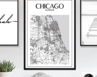 Chicago Print, Chicago, Chicago Poster, Chicago Map, Chicago Illinois Street Map Art, Printable Chicago Wall Art Map, Instant Download