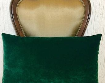 Dark Green Velvet Pillow, Green Lumbar Pillows, Velvet Pillow Cover, Decorative Throw Pillows, Velvet Cushions, Green Velvet Pillow Covers