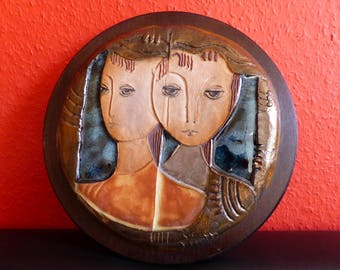 Ceramic Tiles in wooden frame from artist Ruth Faktor from Israel, Vintage,39x37cm