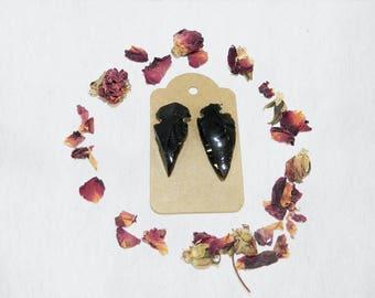 Obsidian Arrow Head Hair Pins