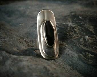 SHIELDED Onyx STERLING & fine silver handmade ooak artisan ring size 7