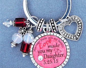 Love Made You My Daughter, Gift For Daughter In Law, Key Chain Ring, Save The Date, Marriage Date, Mother In Law Gift, Engagement Keychain